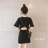 洋裝性感鏤空露背收腰素面短袖連身裙氣質少女裙子學生黑色洋裝
