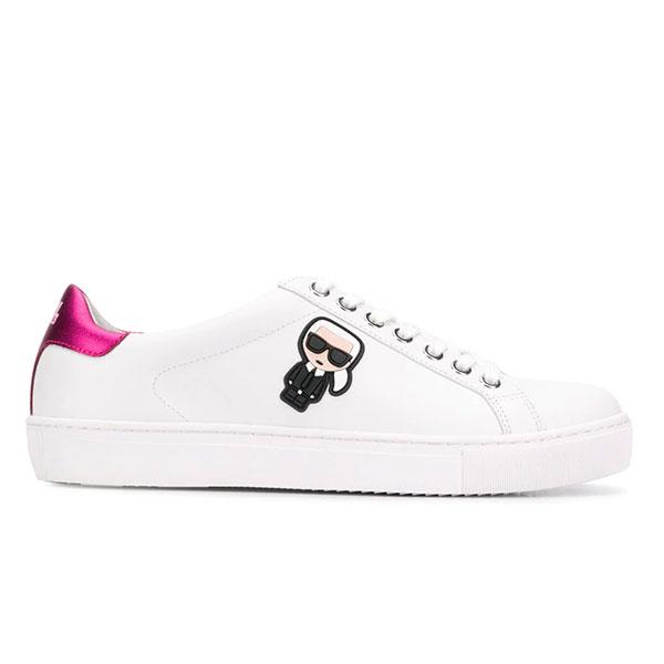 Karl Lagerfeld 卡爾 老佛爺 KUPSOLE Q版綁帶休閒鞋-白粉