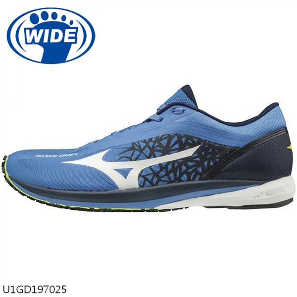 Mizuno Wave Duel Wide [U1GD197025] 男鞋 運動 慢跑 休閒 輕量 避震 耐磨 藍 白