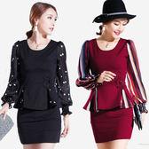 高雅套裝 香奈兒風雪紡拼接上衣+短裙  (酒紅條  黑點)二色售 11860007