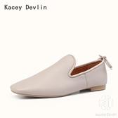 平底鞋 羊皮軟底單鞋一腳蹬懶人樂福鞋 休閒舒適方頭女鞋【Kacey Devlin 】