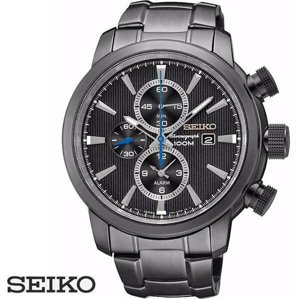 SEIKO 熱銷大錶徑三眼黑鋼帶男錶 44mm 碼表鬧鈴功能 日期窗 7T62-0LG0SD SNAF49P1 公司貨 | 名人鐘錶