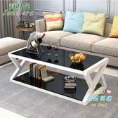茶几 簡約現代鋼化玻璃 客廳辦公室創意小戶型簡易方形桌T 3色