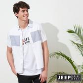 【JEEP】文青造型復古短袖襯衫-白