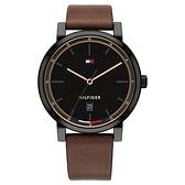 【台南 時代鐘錶 Tommy Hilfiger】1791736 簡約休閒風 日期顯示 皮革錶帶男錶 44mm 黑