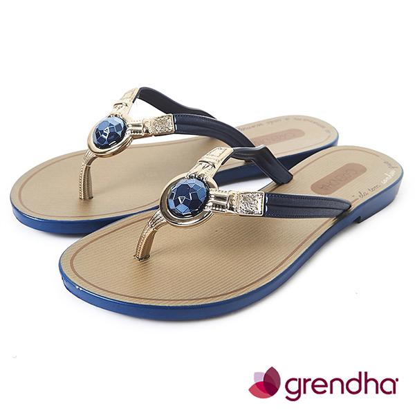 GRENDHA 耀眼奪目人字帶夾腳鞋-藏藍