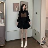 泡泡袖洋裝 2020新款秋季裙子收腰秋冬小黑裙小個子氣質長袖襯衫洋裝女