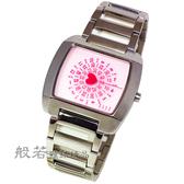 ELLE STUDIO  心型秒針手錶-粉