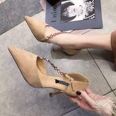 2019夏季黑色尖頭高跟鞋女細跟絨面性感包頭鏈條一字扣帶涼鞋女 GD155 『科炫3C』