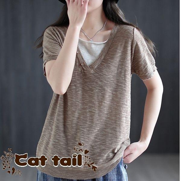 《貓尾巴》DY-01344 文藝百搭V領兩件針織短袖上衣(森林系 日系 棉麻 文青 清新)