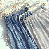 緞面百褶闊腿褲女高腰夏季薄款垂感寬鬆直筒長褲休閒冰絲墜感顯瘦 沸點奇跡