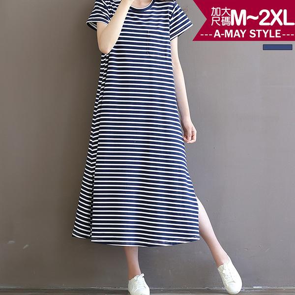加大碼-條紋綁腰休閒連身裙(M-2XL)