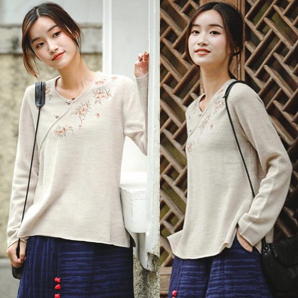高端精細刺繡100澳洲羊毛衣/設計家 Z81060