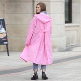 成人戶外徒步旅游單人時尚透明大帽檐長款雨衣雨披【卡米優品】