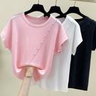 針織衫 針織上衣短袖衫大碼女裝新品冰絲顯瘦上衣胖妹妹短袖T恤2F114依佳衣