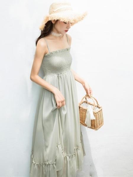一字肩洋裝 2020年新款夏智熏法式桔梗吊帶超仙的雪紡洋裝子森女系初戀甜美 果果生活館