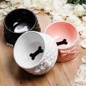寵物貓碗狗碗食盆裏的顏值擔當 蝴蝶結陶瓷骨頭碗 名創家居館