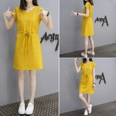 售完即止-洋裝女裝正韓V領裙子抽帶寬鬆顯瘦連身裙8-10(庫存清出T)