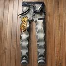 新品特惠# 秋冬外貿新款歐美破洞男士牛仔修身彈力老虎刺繡復古直筒長褲