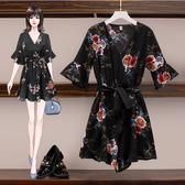 VK精品服飾 韓國風印花大碼百搭顯瘦連身裙褲套裝短袖褲裝