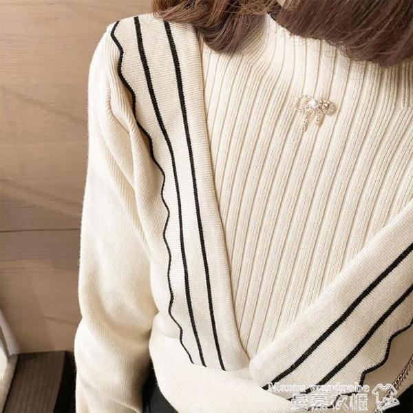 木耳邊毛衣 半高領毛衣女2021冬季新款修身淑女氣質顯瘦上衣木耳邊打底針織衫 曼慕