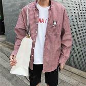 夏季韓版豎條紋襯衫男長袖寬鬆帥氣青年百搭襯衣男士時尚薄款上衣 街頭布衣