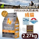 PetLand寵物樂園《Nutrience紐崔斯》INFUSION天然糧系列-成貓(雞肉)2.27kg/貓飼料