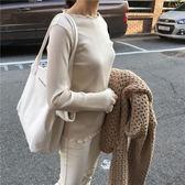 手提包  新款大容量極簡風字母單肩帆布包簡約手提女包純色托特包大包  蒂小屋服飾