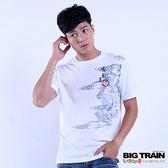 BIG TRAIN 雪輪青龍圓領短袖T-男-白色