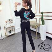 字母破洞寬鬆T恤+高腰顯瘦哈倫褲套裝 (TE0254-3233) iRurus 路絲時尚