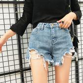 新款潮破洞牛仔短褲女韓版百搭高腰寬鬆學生闊腿熱褲    琉璃美衣