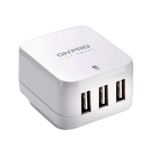 ONPRO UC-3P01W 3孔USB萬國急速充電器(5V/4.8A)白色【單件88折↘獨家2年保固】
