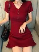 針織連身裙法式少女復古修身顯瘦高腰氣質紅色針織連身裙女夏短袖一步裙子潮  迷你屋 新品