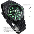 CASIO卡西歐 指針錶 黑面 綠色數字時刻 黑色橡膠 47mm 男錶 時間玩家 MRW-200H-3B MRW-200H-3BVDF