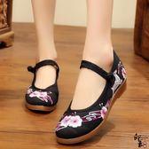 中式復古梅花鹿繡花鞋平底搭扣漢服古裝配鞋布鞋單鞋女 週年慶降價