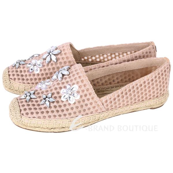 TORY BURCH Rosas Embellished Espadrille 網格織紋水晶飾草編鞋(粉裸色) 1610165-E2