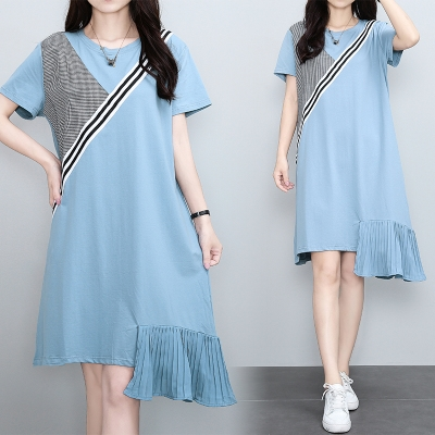 M4XL胖妹妹大碼洋裝連身裙~大碼韓版寬松中長裙不規則拼接T恤連身裙4F101莎菲娜
