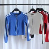 運動拉鏈衫長袖緊身T恤衫露臍短款學生小衫 短外套表演秋季上衣女  西城故事