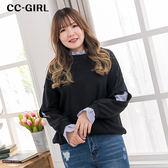 中大尺碼 假兩件襯衫併接T恤上衣~共兩色 - 適XL~4L《 65221E 》CC-GIRL