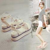 涼鞋女夏新款韓版舒適厚底增高百搭綁帶學生休閒中跟鬆糕涼鞋  野外之家