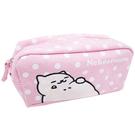 粉紅色款【日本進口正版】貓咪收集 帆布 大筆袋 鉛筆盒 收納包 化妝包 Neko atsume - 427877