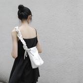新款2019女包粗肩帶抽繩軟皮大容量方形包 ins單肩斜挎百搭大包包 【快速出貨】