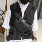男士胸包斜背包潮牌簡約休閒帆布純色單肩包多功能大容量運動腰包 快速出貨