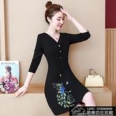 快速出貨 洋裝新款大碼女裝胖mm洋氣減齡顯瘦氣質刺繡V領連身裙【2021鉅惠】
