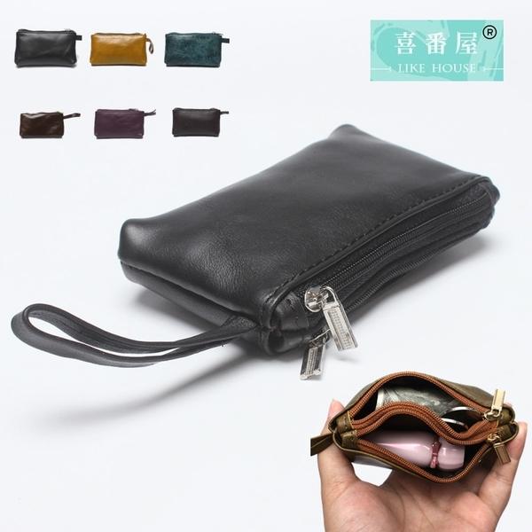 【喜番屋】真皮頭層牛皮輕薄男女通用皮夾皮包錢夾零錢包硬幣包卡片包卡片夾男夾女夾【LH555】