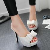 夏季新款性感高跟亮片魚嘴鞋 甜美蝴蝶結細跟防水臺涼拖鞋子
