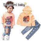 ins 兩件組 套裝 橘色 帽T 長袖 刷破 牛仔褲 破洞 刷鬚 歐美 個性 小童 中童 衛衣 NXS