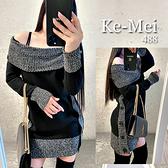 克妹Ke-Mei【AT70137】*精選毛衣488*法式小香風二穿可翻領側排釦毛衣洋裝