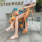 長裙 適合胯大腿粗的裙子一片式沙灘裙2021新款夏季不規則碎花半身長裙