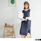 《FA0647-》雙口袋側襬開衩素色針織長版背心/洋裝.4色 OB嚴選